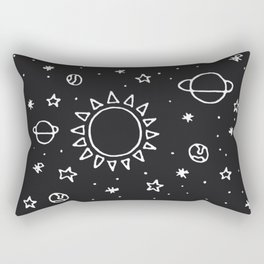 Planets Hand Drawn Rectangular Pillow