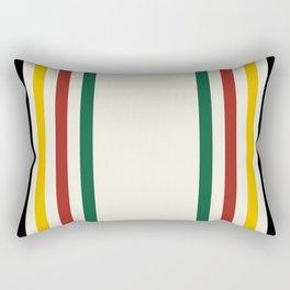 Rustic Lodge Stripes Black Yellow Red Green Rectangular Pillow