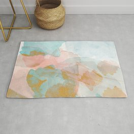 Watercolor Blue Pink gold clouds Rug