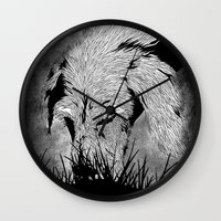 the hound Wall Clocks featuring Hound by hardy mayes