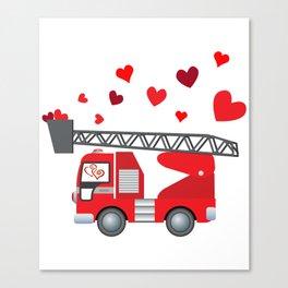 Valentine's Day Firetruck Hearts Gift Kids Boys Canvas Print