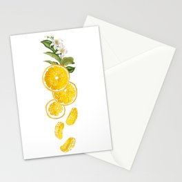 Patel background with orange fruits pattern Stationery Cards