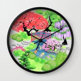 Japanese Garden_Watercolor & Ink Wall Clock