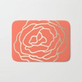 Rose White Gold Sands on Deep Coral Bath Mat