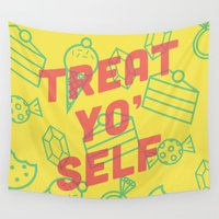 parks and recreation Wall Tapestries featuring Treat Yo' Self by Zeke Tucker