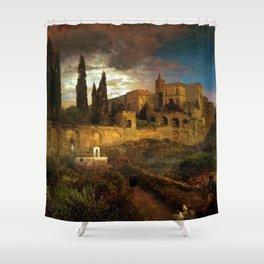 Villa d'Este in Tivoli by Oswald Achenbach Shower Curtain