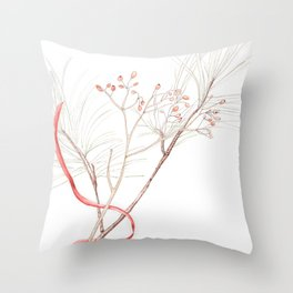 Winter Branches (white pine and rose hips) in Watercolor Throw Pillow
