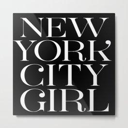 Black NYC Girl Metal Print