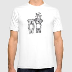 Polar Bear Family White SMALL Mens Fitted Tee