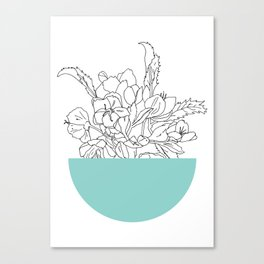 VESSEL - Floral Ink in Mint Green - Cooper and Colleen Canvas Print