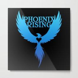 PHOENIX RISING blue on black with heart center Metal Print