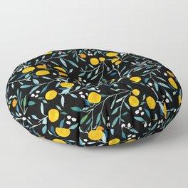 Oranges Black Floor Pillow