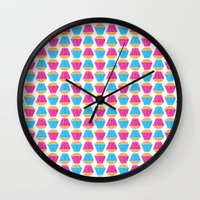 cupcakes Wall Clocks featuring Cupcakes by Apple Kaur