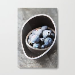 Ripe blueberries blue gray and brown cup. Bright stone background Metal Print