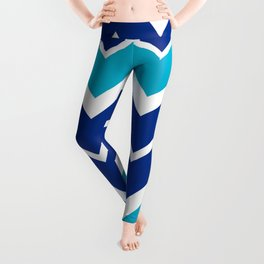 Big Chevron:  Blue + Turquoise Leggings
