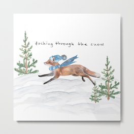 Dashing Through the Snow Winter Fox Metal Print