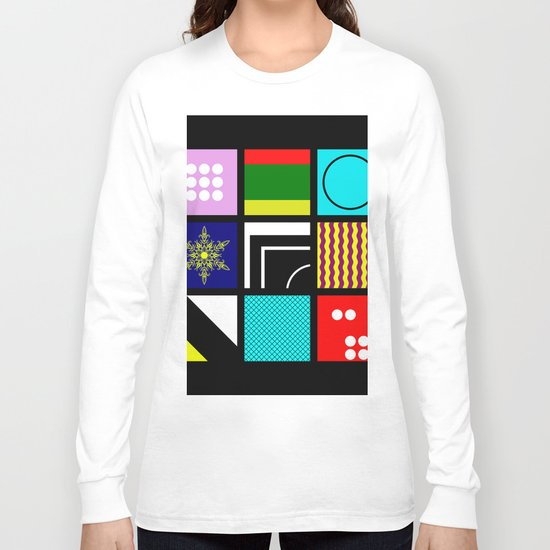 Eclectic 1 - Random collage of 9 bold colourful patterns in an abstract style Long Sleeve T-shirt