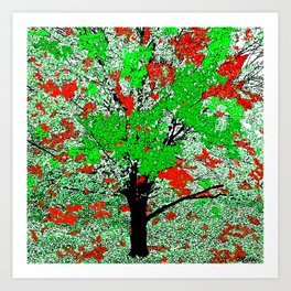 TREE RED AND GREEN LEAF Art Print