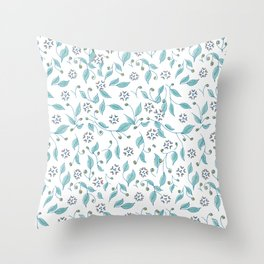 Blooming Hearts Flower Pattern Throw Pillow