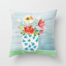 Spring Flowers in Vase Throw Pillow