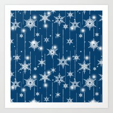 Christmas pattern. White snowflakes on a blue background. Art Print