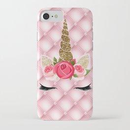 Pink Roses Gold Glitter Unicorn iPhone Case