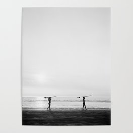 Surfer couple | Wanderlust photography of surfer couple | Coastal wall art. Poster