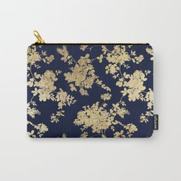 Elegant vintage navy blue faux gold flowers Carry-All Pouch