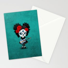 Day of the Dead Girl Playing Nicaraguan Flag Guitar Stationery Cards