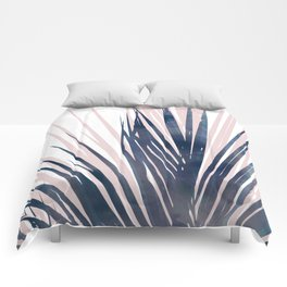 Contemporary Palm Leaf in Navy Blue and Blush Pink Comforters
