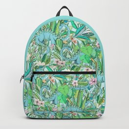 Improbable Botanical with Dinosaurs - soft pastels Backpack