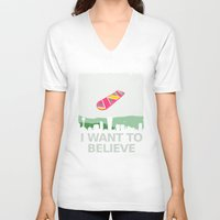 i want to believe V-neck T-shirts featuring I want to believe by kat stark