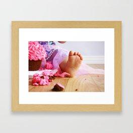 Birthday girl and her cake Framed Art Print
