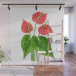Flamingo flower watercolor Wall Mural