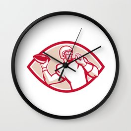 American Football QB Throwing Oval Retro Wall Clock