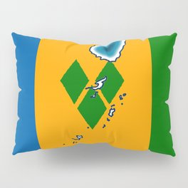 St Vincent and the Grenadines Flag with Island Maps Pillow Sham
