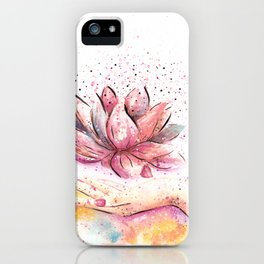 Lotus Flower Watercolor Art iPhone Case