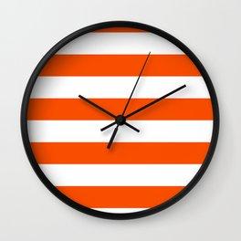 Horizontal Stripes - White and Dark Orange Wall Clock