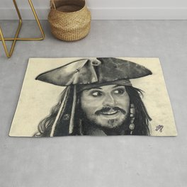 Captain Jack Sparrow ~ Johnny Depp Traditional Portrait Print Rug