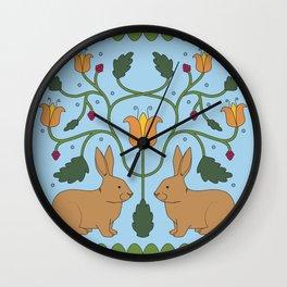Rabbits in the Garden Folk Art Wall Clock