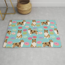 Rough Collie dog breed donut lover pet portrait custom design for dog lover by pet friendly Rug