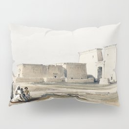 Luxor city on the east bank of the Nile River in southern Egypt  by David Roberts (1796-1864) Pillow Sham