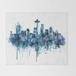 Seattle Skyline monochrome watercolor Throw Blanket