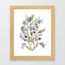 Cattleya Orchid White and Purple with Goldfish Muted Pallet Botanical Design Framed Art Print