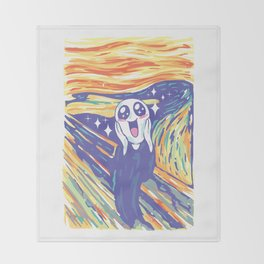Kawaii Scream Throw Blanket