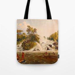 Junction Of The Kundanama Illustrations Of Guyana South America Natural Scenes Hand Drawn Tote Bag