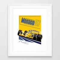 senna Framed Art Prints featuring Ayrton Senna 1987 by Sean Kane Design