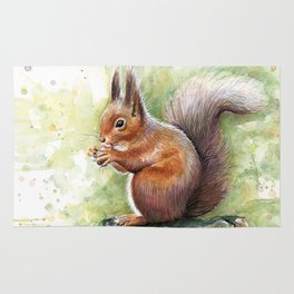 Squirrel and Nut Forest Animals Watercolor Rug