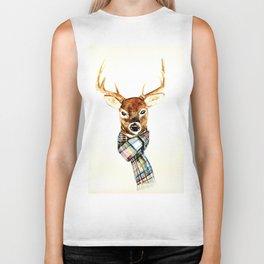 Deer buck with winter scarf - watercolor Biker Tank
