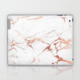 White rose-gold marble Laptop & iPad Skin